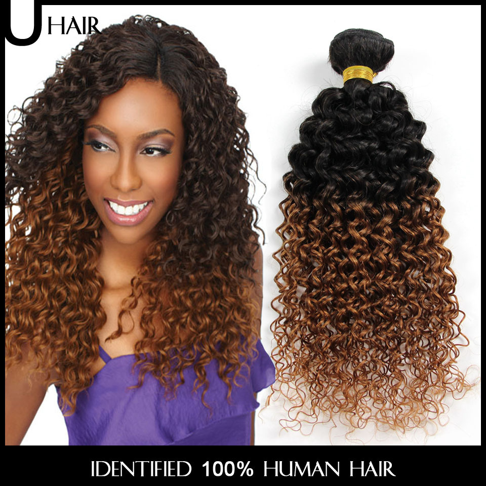 2PCS Ombre Brazilian Hair Two Tone Curly Hair Weave Bundles 10-30 Inches 1b/30# Colored Remy Ombre Curly Human Hair 2JB01