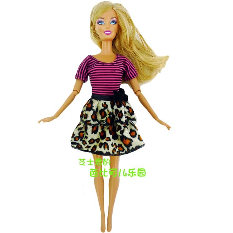 2016 New Doll Costume Stunning Handmade Social gathering Garments Stripe Leopard Costume For Barbie Doll ,Finest Childen items Women'Present