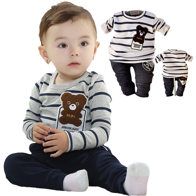 Free shipping 2015 cute baby bear suit suit selling baby boy dress clothing set High Quality baby clothing(China (Mainland))