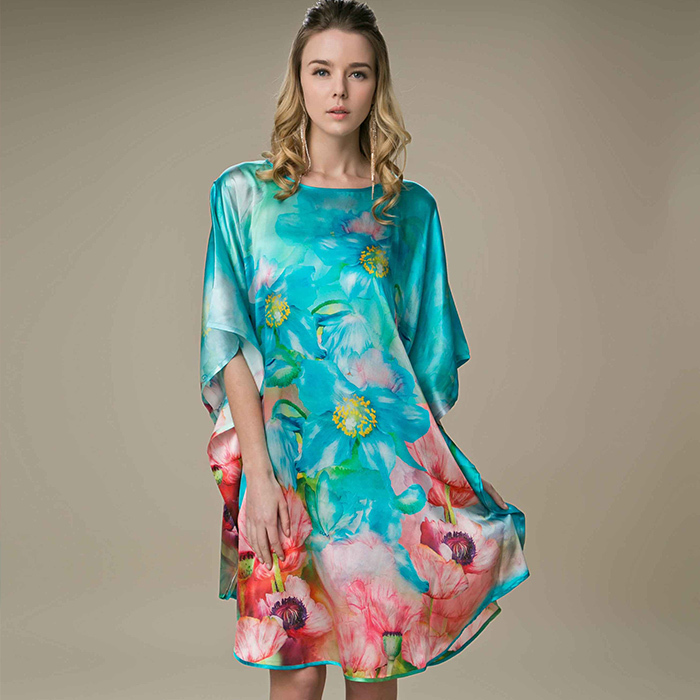 2014 New Fashion Short Sleeve 100 Silk Plus Size Silk Dress Chinese Style Round Neck