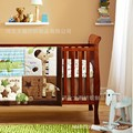 Promotion 3PCS Embroidered 3D Animals Brown Color Boy Baby Cot Crib Bedding Set bumper sheet pillow
