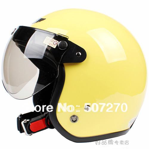 "E.22 3/4 Taiwan "" SYC "" Retro ABS Cycling Vespa Half Face Motorcycle Full Gloss Yellow Helmet & UV ""W"" Lens & Visor For Summer(China (Mainland))"