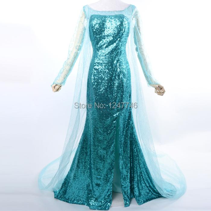 costume Elsa dress adult Princess Elsa Snow Queen cosplay costume halloween costumes for women fantasy women custom(China (Mainland))