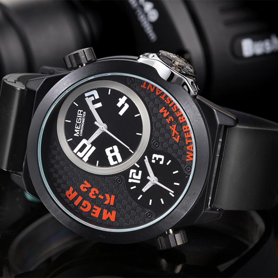 MEGIR Новый Стиль Мужчины Роскошные Военные Водонепроницаемые Множественный Часовой пояс Многофункциональный Кварцевые Наручные Часы