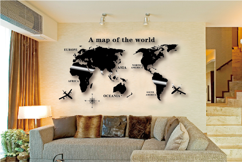 Wall Art Decal World Map Wall Sticker Globe Earth Wall Decor For Kid 39 S Room Home Diy Mirror 3d
