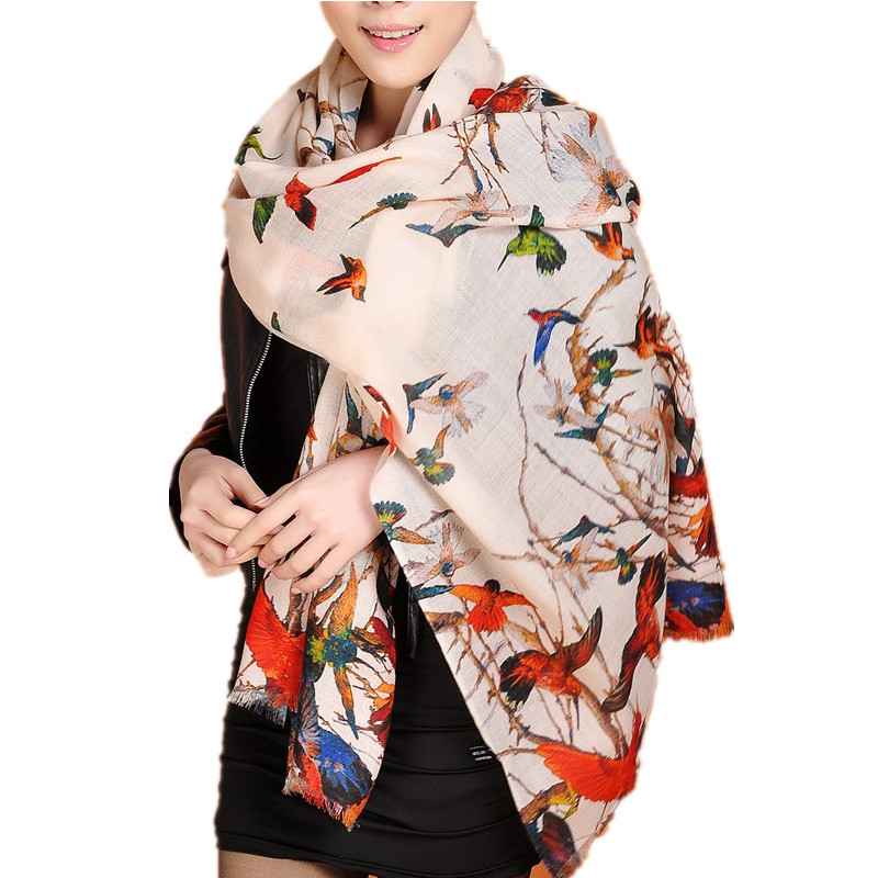LING/190*70CM Warm Fine 100% wool Scarf,Printed Bird Pattern,Chic Evening Pashmina,Style Fashion Winter shawls and scarves/W3907(China (Mainland))
