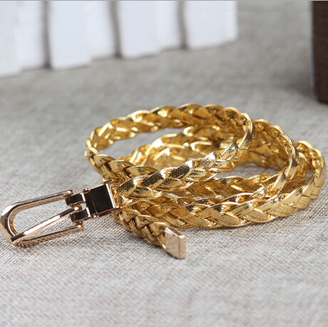 New Women Belt Ladies Faux Leather Metal Buckle Bling Gold Plate Straps Girls Belts Accessories Lady All-Match Waistband ZL200(China (Mainland))