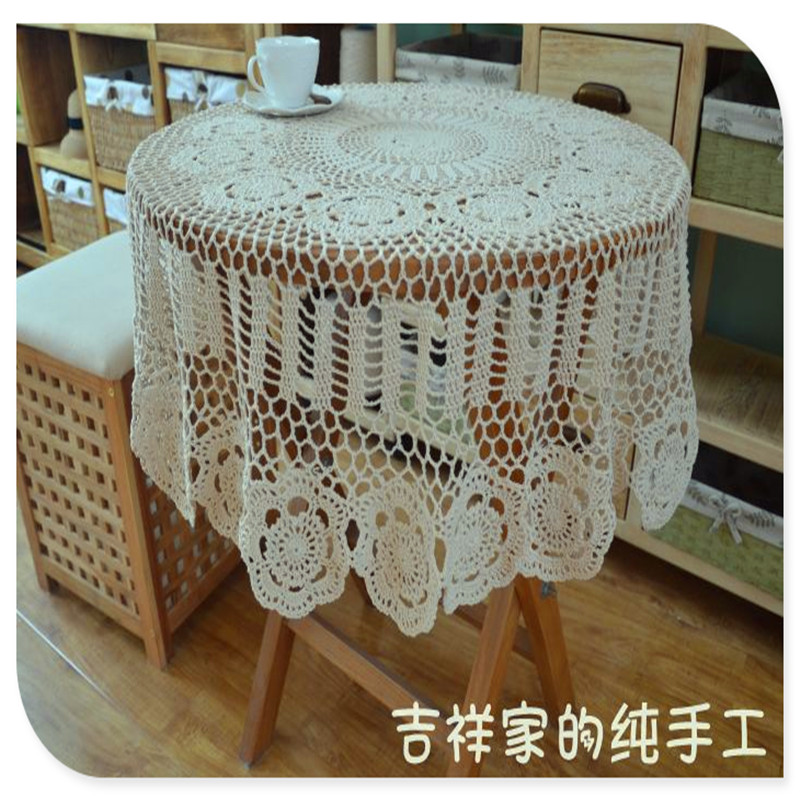 2016 ZAKKA 100 cm round fashion novelty home decoration white table cover with lace flower for wedding decoration for sale(China (Mainland))