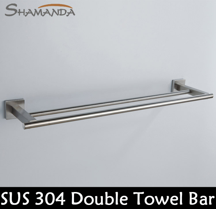 Free Shipping Bathroom Accessories Products Solid 304 Stainless Steel Nickel Brushed Double
