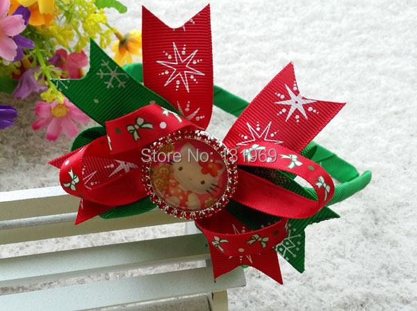"10 pcs 4"" crystal bows frozen hello kitty hair headband bows boutique hair flower kid girl Christmas gift hair accessories(China (Mainland))"