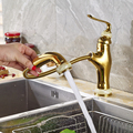 Wholesale and Retail Kitchen Sink Mixer Faucet with One Handle Deck Mounted Gold