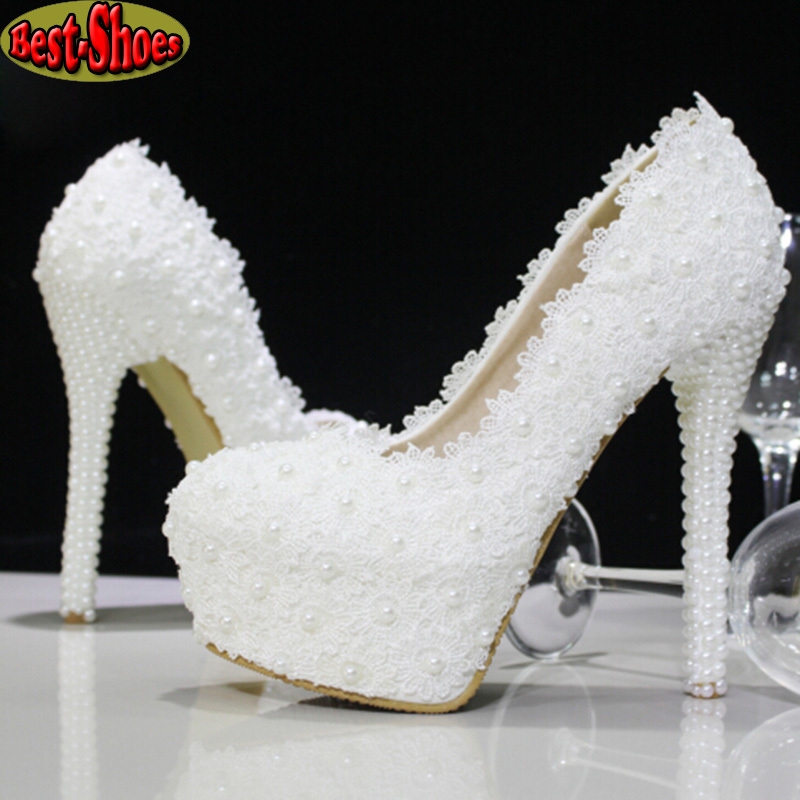2015 New Platform Beautiful Pearl Lace White Wedding Shoes Women Pumps Party Dance Sexy High-Heeled Shoes 10/12/14 cm size 34-39(China (Mainland))