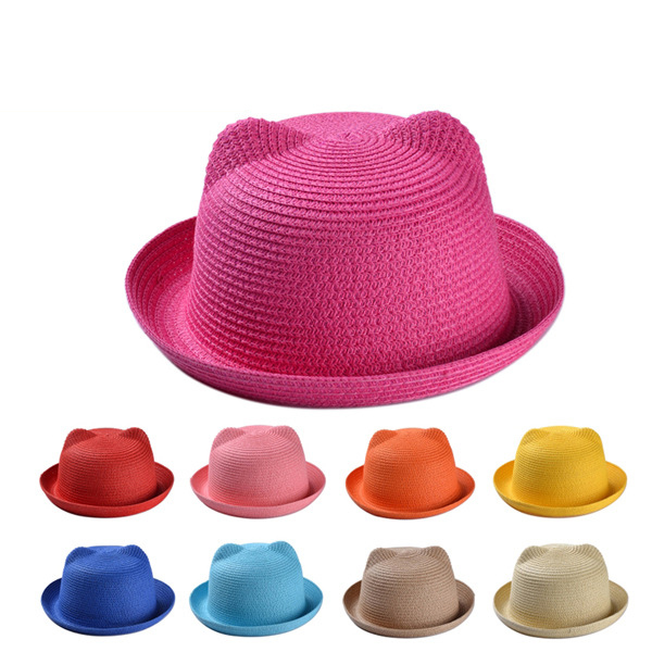 2015 Sweet Cats Ears Straw Caps Toddler Adults Girl Summer Sun hat women hats cheap beach cute hats (HYJ02)(China (Mainland))