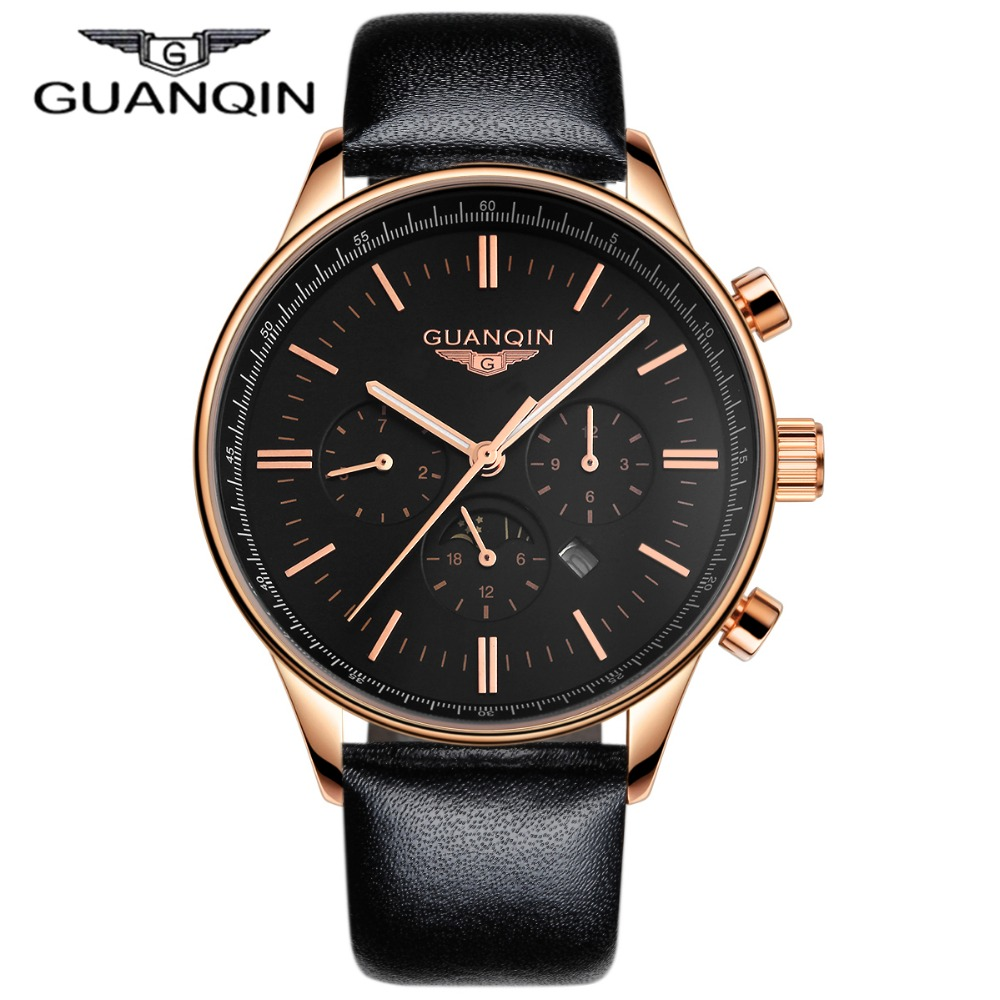 Luxury GUANQIN Watches Men font b Relogio b font Masculino Quartz Watch Waterpoof Leather Watches Men