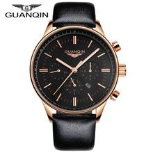 Luxo GUANQIN relógios homens relógio de quartzo Relogio Masculino Waterpoof Leather Men relógios de luxo marca ouro preto relógios de pulso