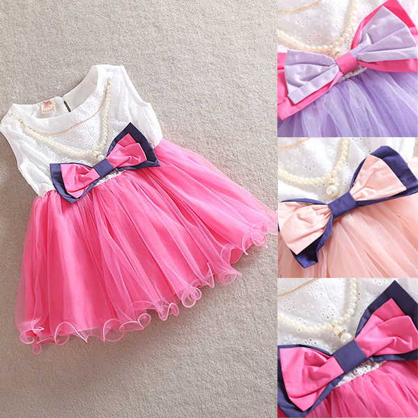 Toddler Kids Girl Princess Bow dresses Necklace One Piece Pageant Tutu Dress 0-3Y(China (Mainland))