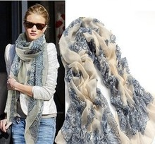 Fashion Women 2013 New Beautiful Blue And White Porcelain Print Scarf  Warm Scarf  Free Shipping
