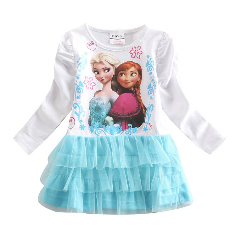 Elsa girl dress long sleeve novatx brand tutu dress for anna princess party dress fashion children clothing toddler kids clothes(China (Mainland))