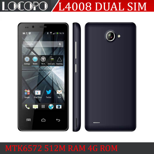 "LOCOPO 4008 4"" High Definition Screen Cheapest Smart Phone MTK6572 Dual Core Android 512M RAM 4G ROM 800x480 Cheap Cell PHone(China (Mainland))"
