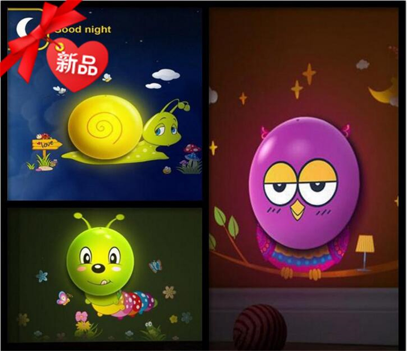 LED Wall Sticker Lamp Animal Wallpaper Sensor Control Lights Baby Child Nightlight DIY Wall Decoration(China (Mainland))