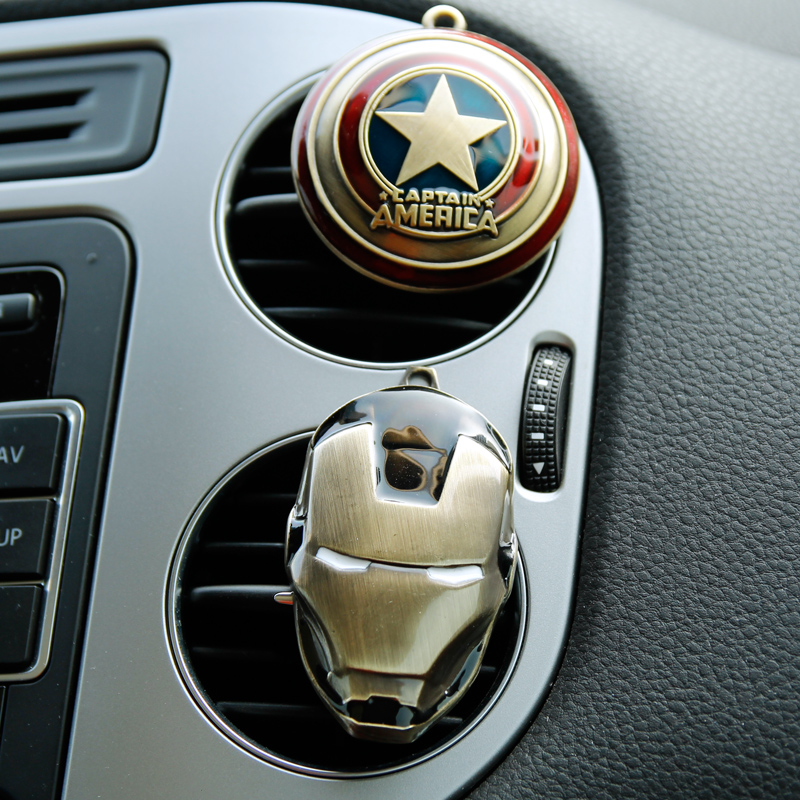 2016 New Iron Man Captain America shield Car outlet perfume original auto perfumes Air Freshener Car Air Conditioning Vent Clip(China (Mainland))