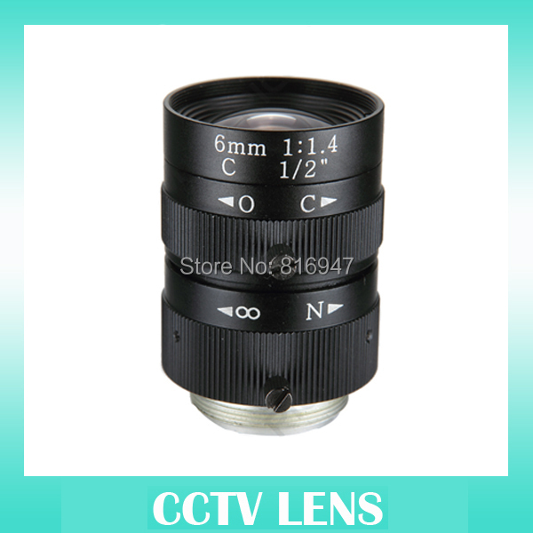 "cctv lens 6mm 3 mega pixel, manual iris, 1/2"" F1.4 C mount, 6mm lens for security ip camera(China (Mainland))"