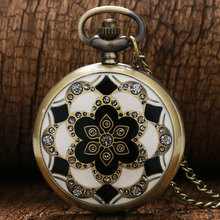 2016 Luxury Fashion Vintage Elegant Ceramics Flowers antique Pocket fob Watch Necklace For men and women gift(China (Mainland))