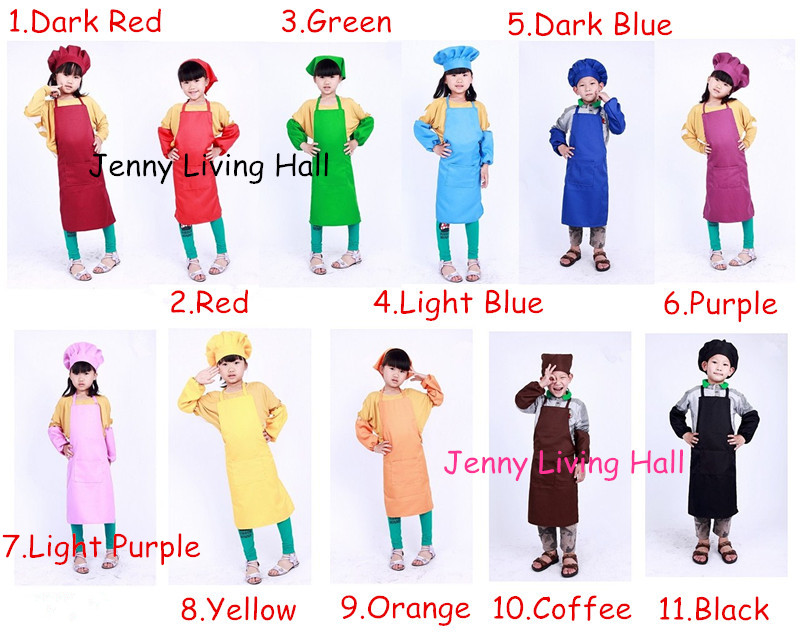 Colorful Polyester Kids Chef Apron Set Children Painting Apron Set Hat and Apron 10sets/lot(China (Mainland))