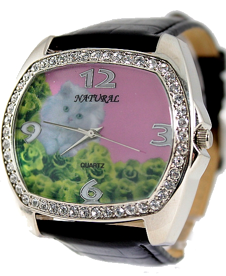 2035 Mvement Quartz New NATURAL Pink Dial Black Band PNP Shiny Silver Watchcase Fashion Watch FW476B(China (Mainland))