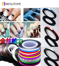 3mm+20m New Korea Creative Widen Gold Silver Nail Art  Line Classic 12 Color Nail Rolls Striping Tape Line Nail Decoration!