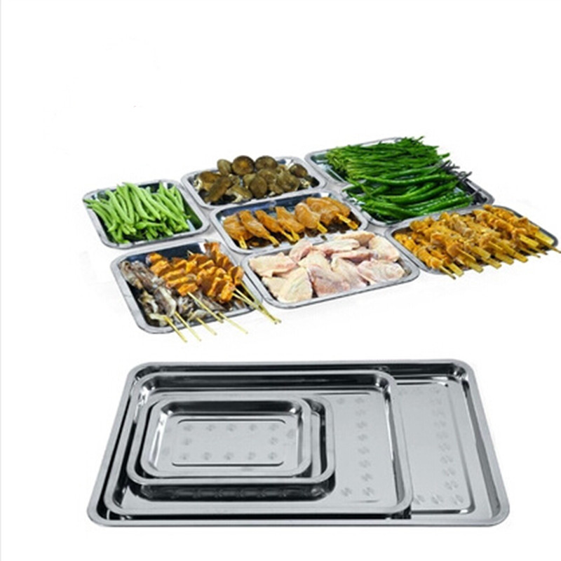Barbecue Tools Square Food Plate Stainless Steel Grill Pans BBQ Food Container Hotel Tray With Heat Resistance(China (Mainland))