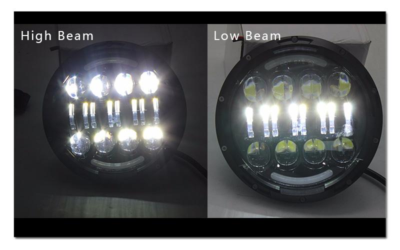 7 inch 80W Round LED Headlights High&Low Beam with Angel EyeAmber Turn Signal light for Jeep Wrangler JK LJ CJ Hummer H1 H2  (4)