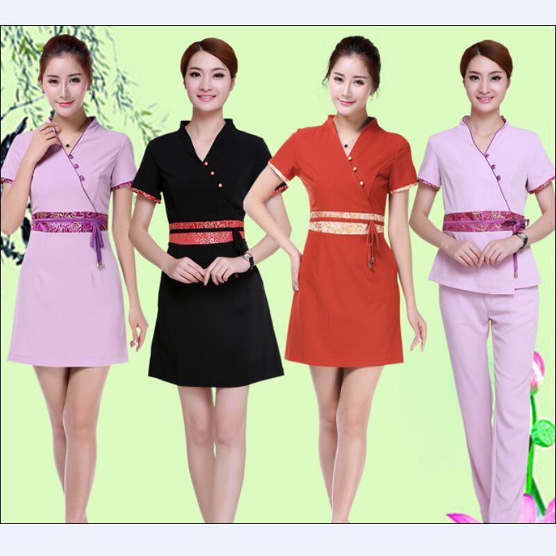 2016 Summer Thai style Massage female medical white uniforms beauty salon nurse uniforms SPA work wears plus size for medical(China (Mainland))