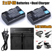 [HI-BTY] 2* fullcode LP-E6 LPE6 Battery + Dual Charger Fo Canon 5D MarkII/III 7D/60D EOS 6D free shipping