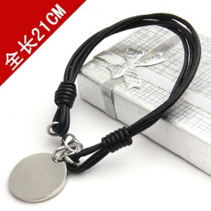 Men's women's leather rope DIY round card Bracelet electroplating silver steel jewelry gift can be engraved name BH-111067(China (Mainland))