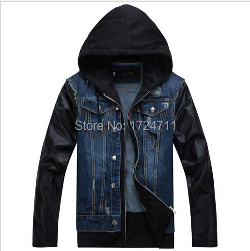 2015 Fashion Brand Designer Jackets Leather Sleeves Jeans Jacket Mens Hooded Denim Coats M-XXL(China (Mainland))