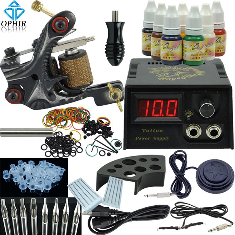 OPHIR Beginner Tattoo Kit Tatoo Machine LCD Power Supply 7 Colors Tattoo Inks Tatto Equipment Power Supply Body Tatto Art #TA002(China (Mainland))