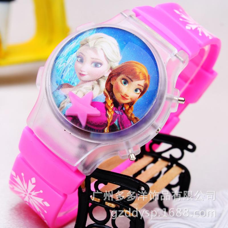 3D Cartoon Elsa Anna Children Digital Watch Girls Kids Boys Sports Watches Student Led Light Clamshell Clock Wristwatch<br><br>Aliexpress