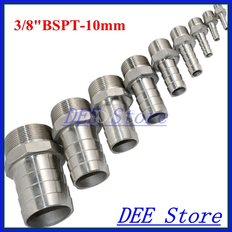 "3PCS 3/8""BSPT Male Thread Pipe Fittings x 10 MM Barb Hose Tail Connector Joint Pipe Stainless Steel SS304 connector Fittings(China (Mainland))"