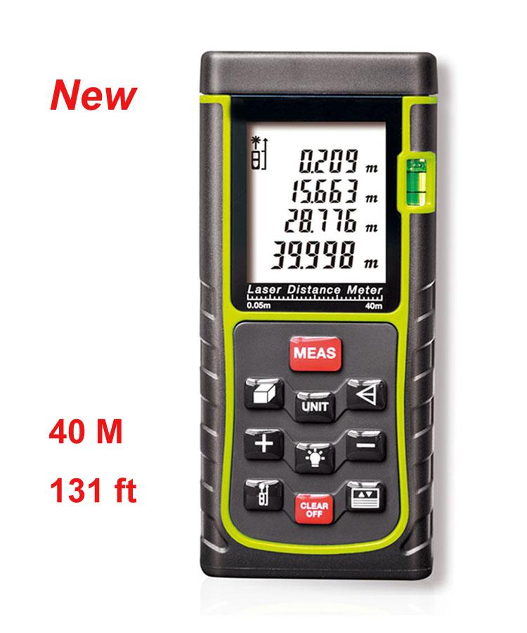 Handheld Laser Distance Meter Rangefinder Digital Range Finder Tape Measure 40M Tester Area/volume/Angle/ m/in/ft Tester tool(China (Mainland))