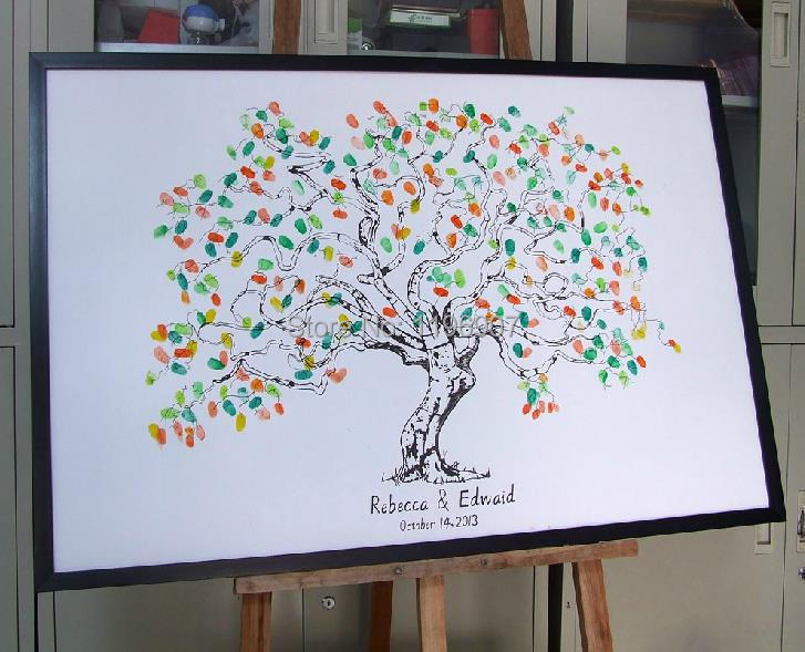 40x60CM - Fingerprint Wedding Tree Wedding Guest Book Tree Unique Signature Guestbook Alternative Vintage Wedding Decorations(China (Mainland))