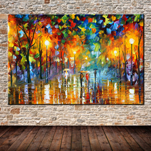 Large Handpainted Lover Rain Street Tree Lamp Landscape Oil Painting On Canvas Wall Art Wall Pictures For Living Room Home Decor(China (Mainland))