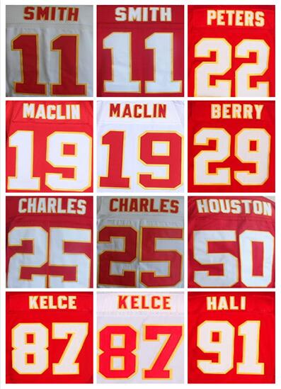 Men's 11 Alex Smith 19 Jeremy Maclin 25 Jamaal Charles 22 Marcus Peters 29 Eric Berry Tamba Hali 87 Travis Kelce elite jerseys(China (Mainland))