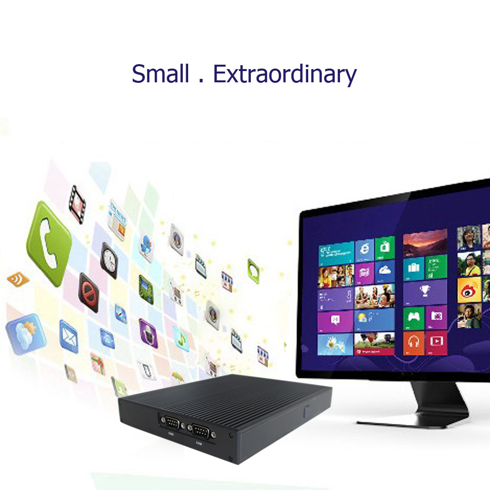 DT Mini PC Desktop Computer Windows 10 VX 8G DDR3L RAM 1*LAN WiFi Antennas USB 3.0 HDMI HD 1080P 19V 65W Fanless For home video(China (Mainland))
