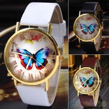 Creative Vintage Butterfly Faux Leather Quartz Analog Dress Wrist Watch  Women