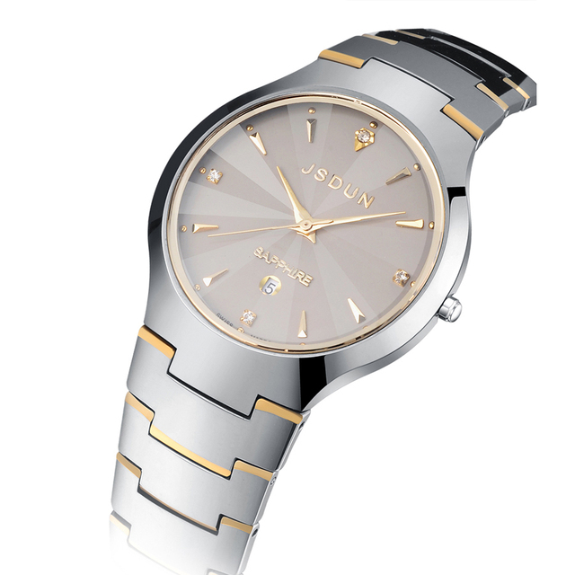 Top Quality Woman Man Quartz Watch Pure Tungsten Steel Fashion Women/Men Dress Watches New Quartz Wristwatch For Man 8607G