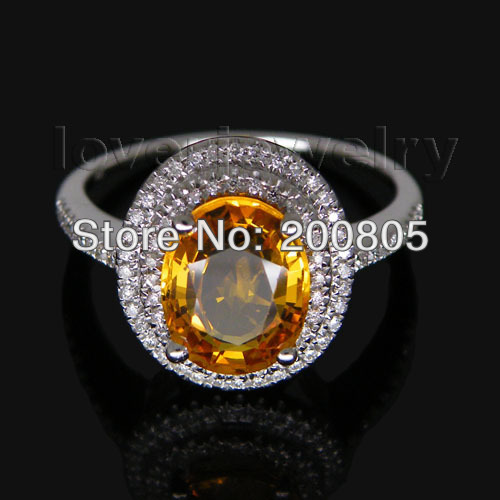 Jewelry Sets Vintage Oval 7x9mm 14Kt White Gold Diamond Yellow Sapphire Ring R0014<br><br>Aliexpress