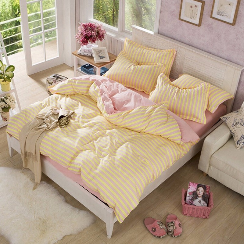 3 Size Comfor Bedding Sets Korean Yellow With Pink Stripe Printed Quilt Duvet Cover Pillowcases Bedsheet Set(China (Mainland))