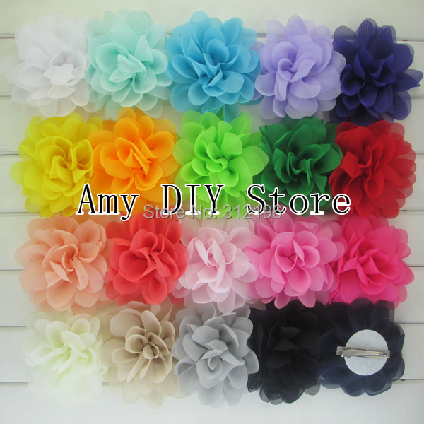 Free Shipping!60pcs/lot Multilayer Chiffon Silk Flowers WITH Hair Clips,Top Petti Skirt Flower For Baby Grils Hair Accessories(China (Mainland))