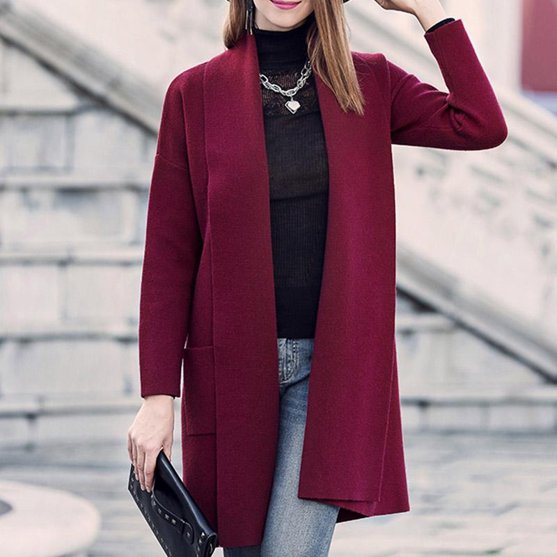 autumn winter long Cardigan Sweater Coat 2016 Women Fashion knitted sweater retro Long Sleeve Black / Grey(China (Mainland))